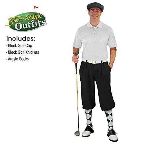 Golf Knickers Mens Select A Style Outfit - Matching Golf Cap - Black - Waist 36 - Sock - Black/White -