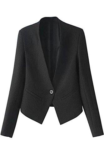 Agatha Garcia Women's Stylish Solid V Neck One Button Slim Blazer