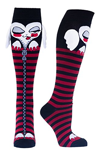 Women's Socks with Wings, Heart Shaped Stripped Knee High socks & Grippy Bottoms, Multi, One Size -