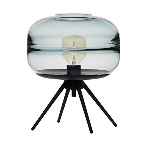 CASAMOTION Optic Contemporary Hand Blown Glass Table Lamp, Plug in Light, Light (Blue Hand Painted Table Lamp)