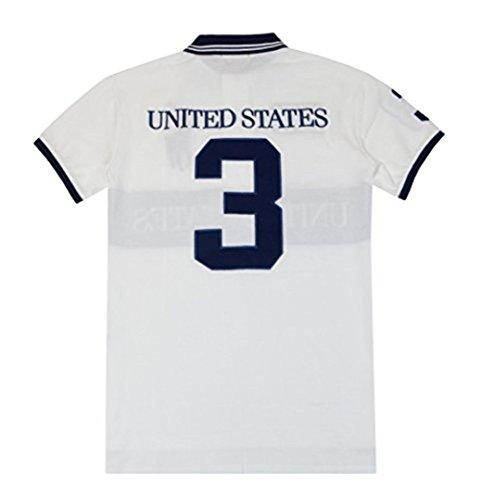 Ralph Lauren Herren Kurzarm Polo USA United States Weiß Schwarz - Gr. S
