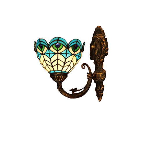 Tiffany Style Wall Lamp, Peacock Feather Blue Design Stained Glass Wall Light, Bedroom Bedside Lamp Living Room Corridor Wall Sconces E27
