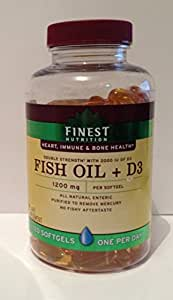 Finest nutrition fish oil 1200mg plus d3 2000 for Fish oil vitamin d3