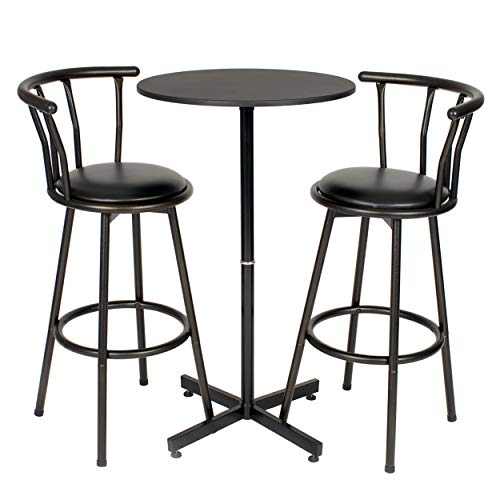 Roundhill Furniture Nor Hill 3-Piece Black Metal Height Bar Table Set with 2 Stools, - Table 3 Piece Bar Set
