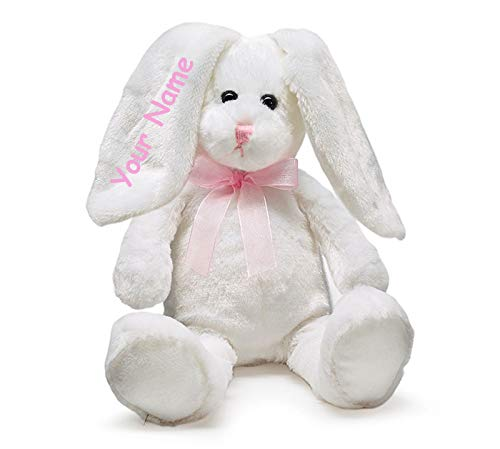 Burton & Burton Personalized Sitting White Easter Bunny with Pink Neck Bow for Girls Plush Stuffed Animal Toy with Custom Name - 9 - Bunny Personalized Easter