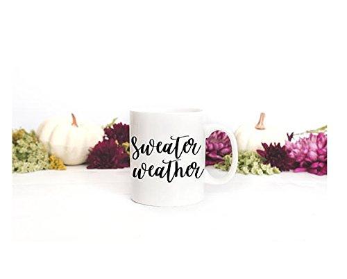 Sweater Weather Mug Winter Mug | Warm Coffee Cup | Fall Coffee Mugs | Christmas Gift | Hand-lettering Mug | Coffee Tea (Yeti Christmas Sweater)