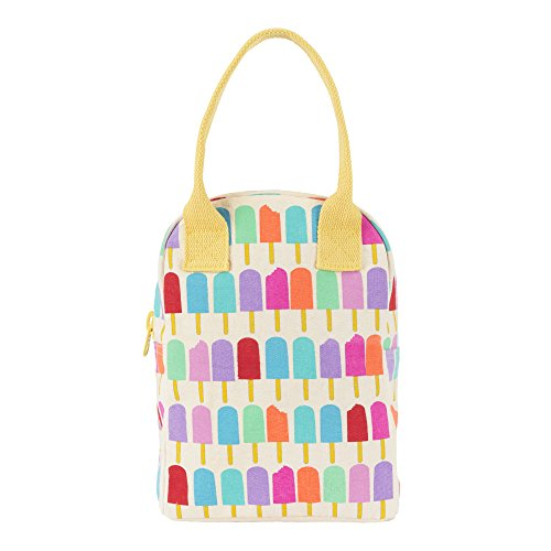 Fluf Reusable Canvas Lunch Bag | Lunch Box for Women, Men, Kids | Organic Cotton Meal Tote with Zipper | Popsicle