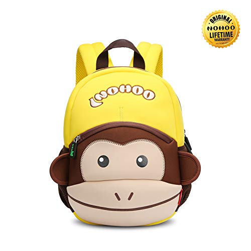 (NOHOO Monkey Toddler Backpack for kids, Preschool Cartoon backpack for 2-6 years)