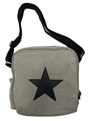 Stern Umhängetasche Tasche Star Fashion Canvas Stoff Stamp Canvas Unisex Grau