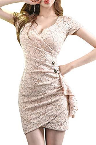 [해외]코 코 앤 유카 꽃무늬 레이스가 귀여운 타이트 섹시 원피스 캐 바 양 드레스 파티 주름 미니 스커트 카스 쿨 원 피 극단 반 소매 / Coco and Yuka Floral Lace Cute Tight One Piece Cabaret Girl Dress Party Ruffle Mini Skirt Kashcool One-piece...