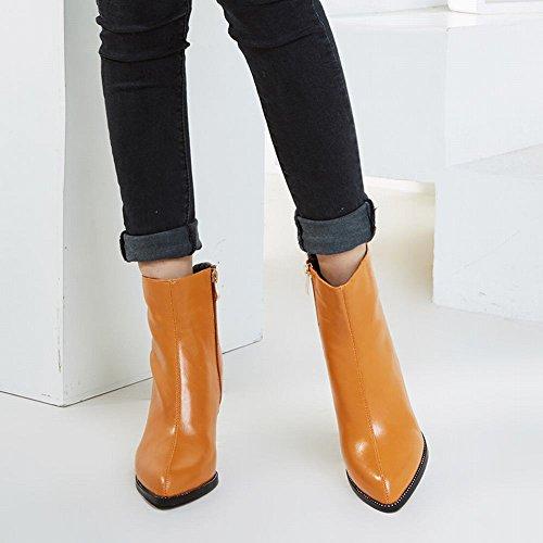 Charme Voet Dames Mode Puntschoen Rits Hoge Hak Korte Laarzen Geel