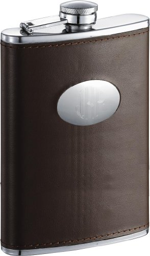 (Personalized Brown Leather Stainless Steel 8 oz Flask, Free Engraving )