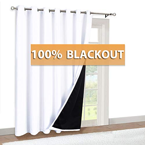 RYB HOME Total Blackout Curtain 84 inch Long, Sliding Glass Door Panel Black Liner Top Grommet Drapery Noise Reducing Room Darkening Curtain for Living Room, W 100 x L 84 in, Pure White, 1 Panel