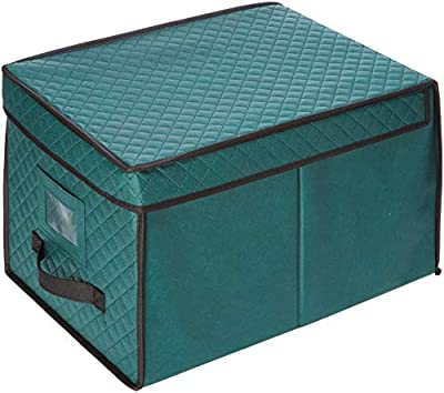 Elf Stor 1046 Ornament Storage Chest with Lid and 24 Extra Large Individual Compartments-Stackable Organizer Cube Case