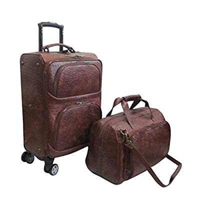 Amerileather Brown Leather Ostrich-Print Two Piece Set Traveler on Spinner Wheels (#8702-6) free shipping
