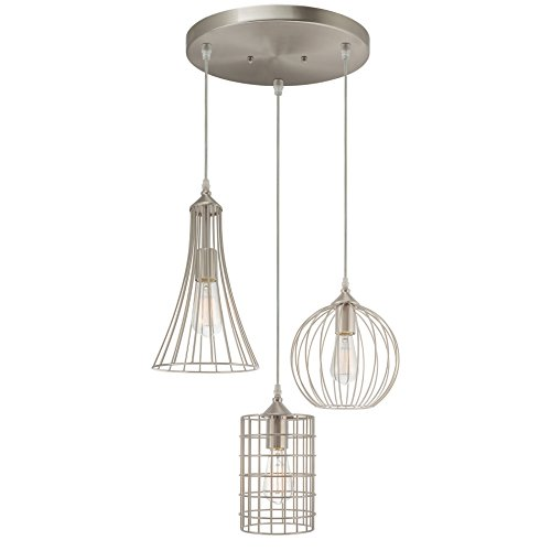 Kira Home Wyatt 11.5 Modern Industrial 3-Light Pendant Chandelier Wire Cage Metal Shades, Adjustable Height, Brushed Nickel Finish
