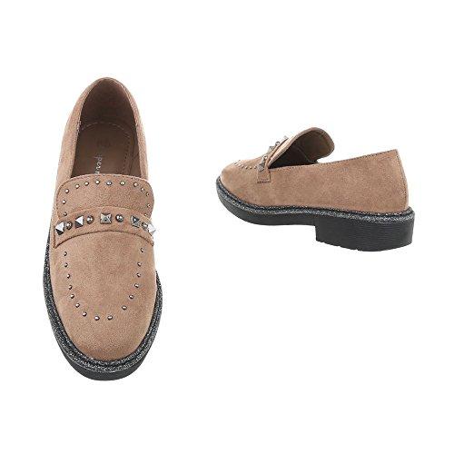Women's Loafer Flats Block Heel Slippers at Ital-Design Light Brown 98KfoOzt3