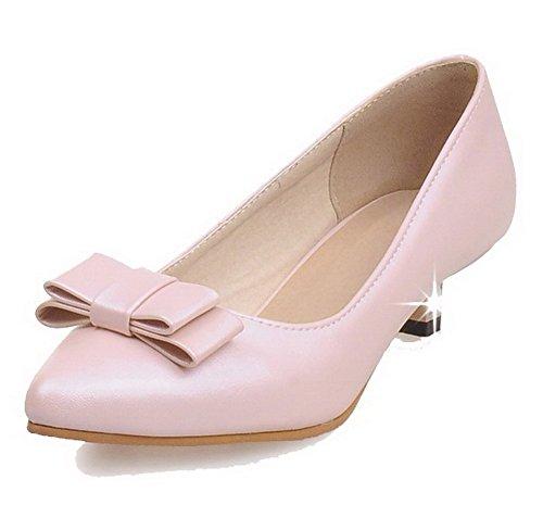 Damen Ziehen auf Rund Zehe Niedriger Absatz PU Rein Pumps Schuhe, Pink, 40 VogueZone009
