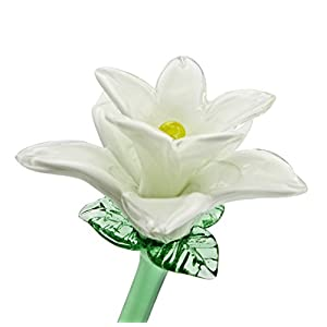 "White Glass Tiger Lily Flower, One-of-a-kind. Life Size 20"" long. FREE SHIPPING to the lower 48 when you spend over $35.00 37"