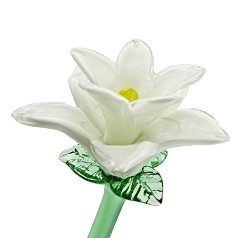 White Glass Tiger Lily Flower, One-of-a-kind. Life Size 20