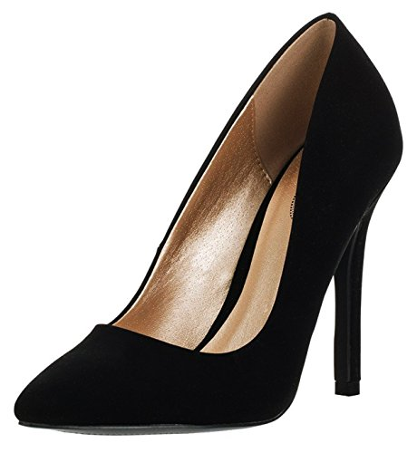 Pointed Toe Stiletto Heel Dress Pump (7.5 B(M) US, Black Nubuck) ()