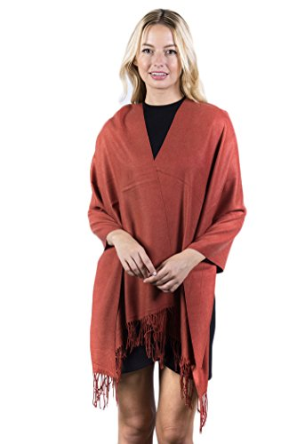 Fashmina Premium Solid Shawl Scarf - Ultra Soft, Beautiful Detailing, Cashmere touch - (Rust Cashmere)