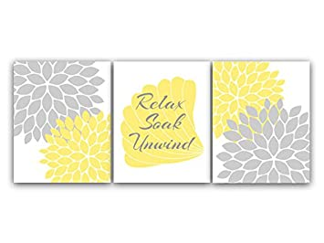 Relax Soak Unwind, Yellow U0026 Gray Bathroom Decor, Ocean Theme Bathroom Art  Prints   Part 95