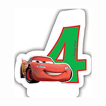 Unique Party Partido Ênico de neón Disney Cars Cuarto cumpleaños Vela