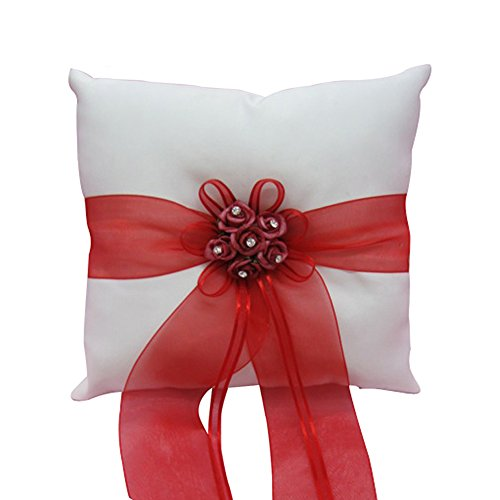 Lace Pearl Embroided Satin Flower Wedding Ring Bearer Pillow 7.8 Inch x 7.8 Inch (Red Satin)