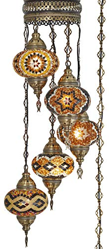((10 Colors) Swag Plug in Light, Demmex 5 Big Globes Turkish Moroccan Mosaic Tiffany Swag Wall Plug in Ceiling Hanging Light Chandelier Lighting, 15feet Chain Cord North American Plug (Brown)