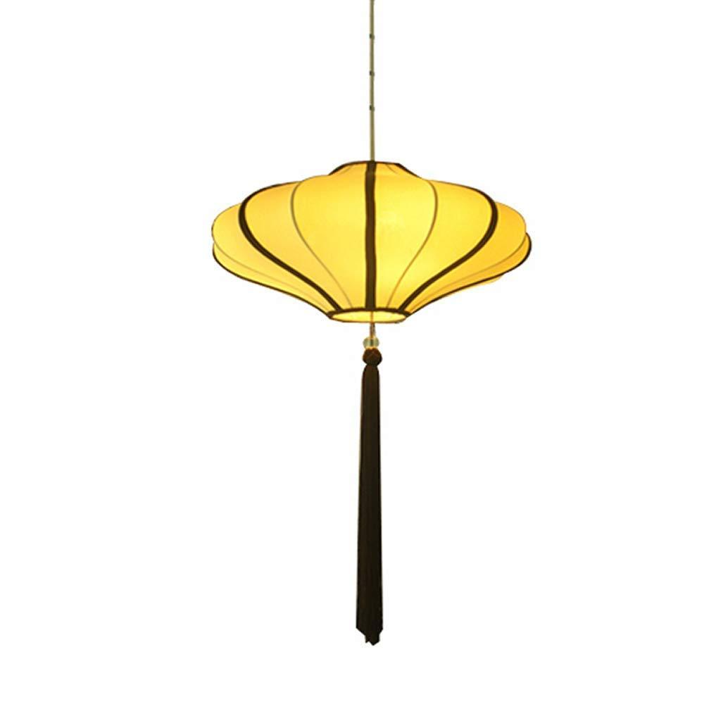 Gelb-50cm Schmiedeeiserne Kronleuchter, kreative Laterne Pendelleuchte japanische E27 Pendelleuchte Stoff Kronleuchter Deckenleuchte (Farbe   Gelb-50cm)