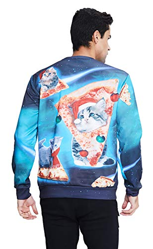 80s Couple Ugly Christmas Sweater Galaxy Printed Sweatshirt Cute Cat with Xmas Hat Pullover Jumper Top Youth Girls Winter Family Home Party Holiday Clothes