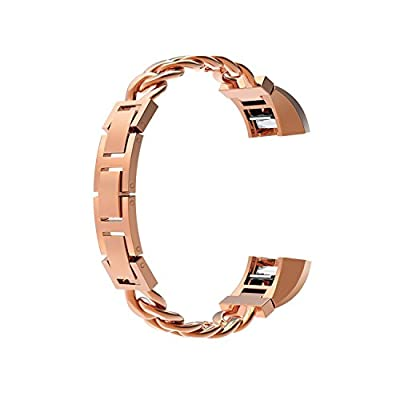 For Fitbit Alta / Fitbit Alta HR, Adjustable, No Tool is Needed, Adopts Knock-down Buckle Design, Wearlizer Metal Replacement Bands Chain Style Silver Gold Rose Gold Black Decorate Your Daily Outfits