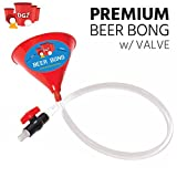 Beer Bong Funnel With Valve – 2.5 Foot Plastic College Party Alcohol Tube Hose Chugging Device – Perfect for Parties, Pregames, Beach Week, University Student Gag Gift – By Drinking Game Zone
