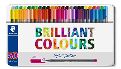 Staedtler Triplus Fineliner Pens, Metal Tin Containing 50 Assorted Colors (334 M50)