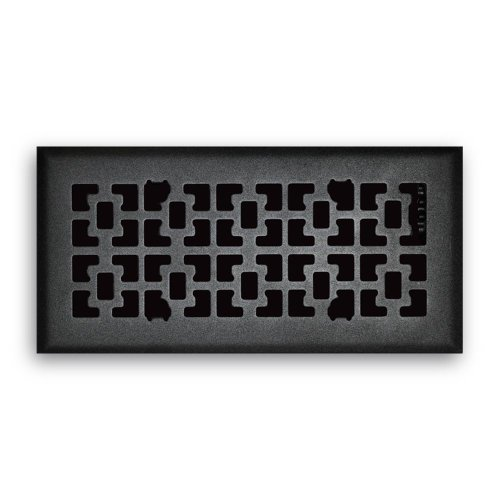 Truaire C166-VMB 04X10(Duct Opening Measurements) Decorative Floor Grille 4-Inch by 10-Inch Vintage Victorian Floor Diffuser, Matte Black Finish Black Victorian Register