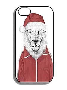 Humor Case-DIY Santa lion Rubber TPU Cases For Iphone 4 4s Black White