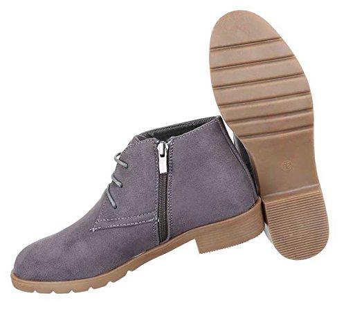 Damen Boots Stiefeletten Schuhe Schnürer Schwarz Grau Braun 36 37 38 39 40 41 Grau