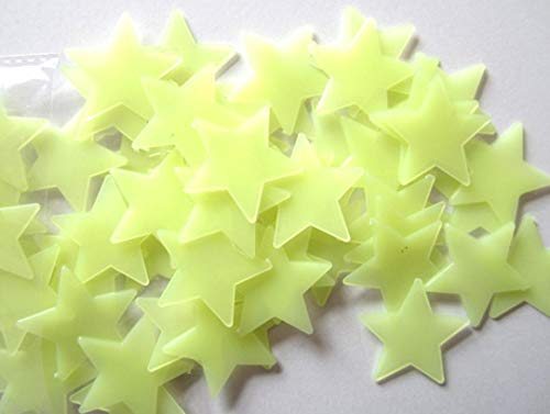 ❤JPJ(TM)❤️_Home decoration 100pcs New Creative Kids Bedroom Fluorescent Glow In The Dark Stars Wall Stickers (Yellow)