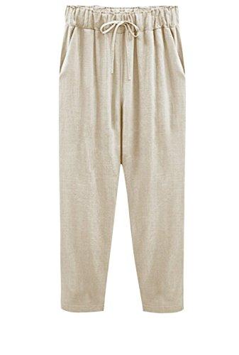 Fashion Lunghi Vintage Estivi Coulisse Grazioso Sciolto Con Vita Pantalone Tempo Lino Pantaloni Solidi Biran Colori Elastica Eleganti Libero Donna Harem Hellbraun qYXxWZw14S