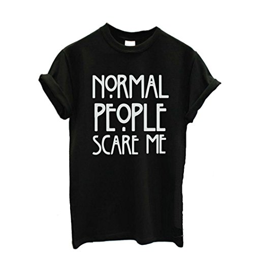 Person Ringer T-shirt (Kangma Women Normal People Scare Me Short Sleeve Casual Cotton Tops T-Shirt)
