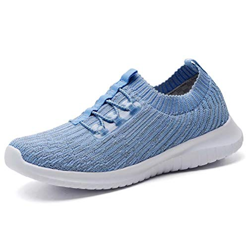 konhill Women's Lightweight Athletic Running Shoes Walking Casual Knit Workout Sneakers, Aqua,42