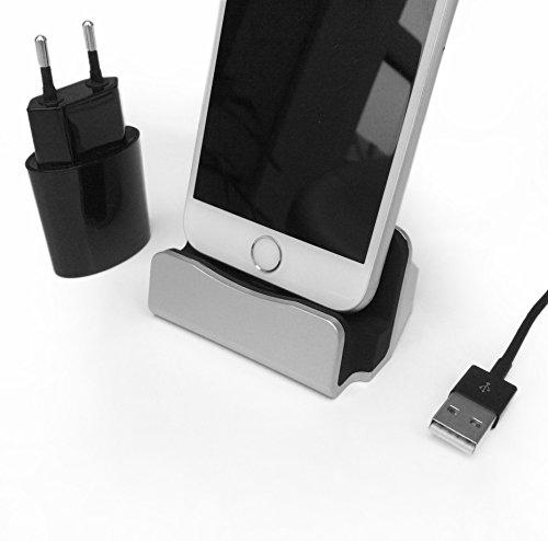 Original HubLines® - Premium- Design- Lade- und Docking-Station mit 2.1A Schnelladenetzteil - Micro-USB Silber - Desktop-Dock/Ladegerät/Ladehalterung für Smartphones und Handys - Halter/Ständer/Cradle/Ständer/Pack/Dock/MiniDock/Ladeschale