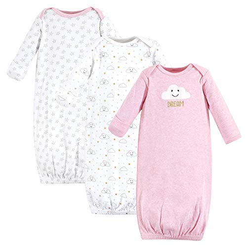 Hudson Baby Cotton Gowns, 3 Pack, Pink Clouds (Gown Bottom)