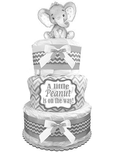 Elephant Diaper Cake - Gender Neutral Baby Shower Gift - Newborn Gift - Gray from Sunshine Gift Baskets