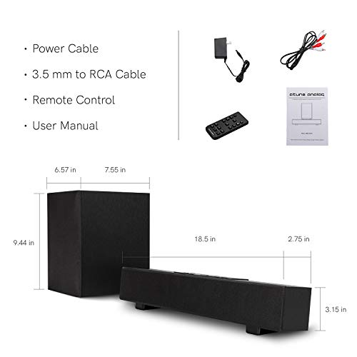 atune analog TV Wired Wireless Sound Bar 2.1 Channel 5.0 Bluetooth Speaker with Wireless Subwoofer Compatible Dolby Digital 16 in Black