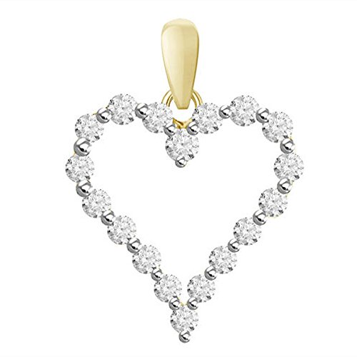 "TrioStar Vintage Fine Estate Jewelry 14k Yellow Gold Plated Sim Diamond Heart Pendant with 18"" Chain"