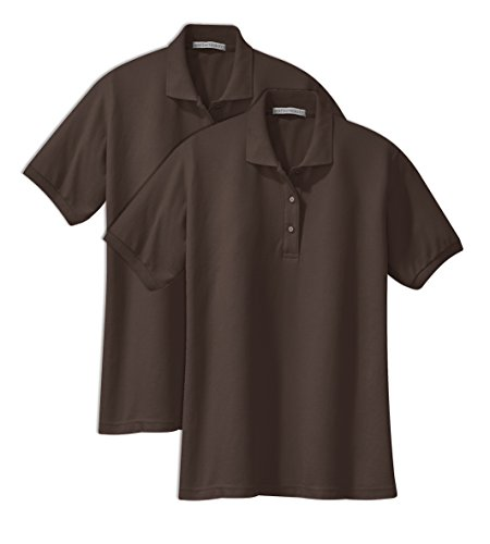 Port Authority L500 Ladies Silk Touch Polo M Coffee Bean (Pack of 2)