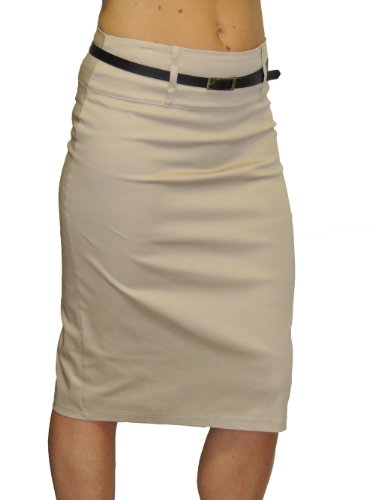 (2347) Trend Stretch Pencil Skirt with Sheen + Free Belt Beige (12)