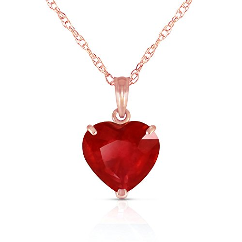 Galaxy Gold 14k Solid White, Yellow, Rose Gold Necklace with Heart Shaped 10 mm 4.3 Carat Natural Red Ruby 5662 (24.00, Rose-Gold)